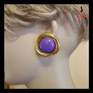 VINTAGE GOLD & PURPLE BUTTON EARRINGS